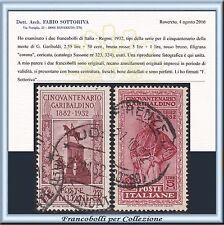 1932 Italia Regno Garibaldi 2 alti valori n. 323/324 Usati Certificato