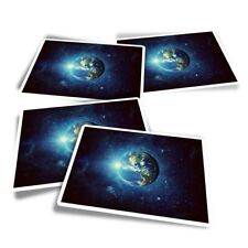 4x Rectangle Stickers - Planet Earth Space Moon  #8544
