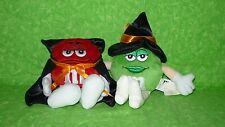 Set of 2 HALLOWEEN M&M'S Plush Coin Purses Green Girl Witch Red Dracula