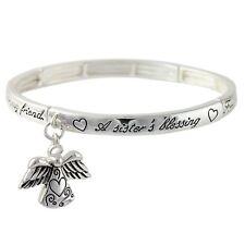NEW Sweet Sisters Blessing Heart Love Family Friend Angel Charm Stretch Bracelet