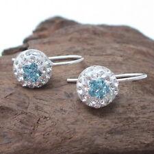 Cute Blue CZ Flower Ball .925 Silver Hook Earrings