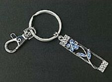 New Blue Crystals Flower Purse Charms Silver Key Chains Free Shipping Gift