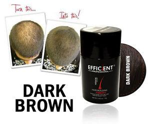 EFFICIENT Hair Building Fiber 12g DARK BROWN for Thinning Hair, Bald Spots