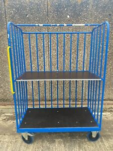 3-SIDED WAREHOUSE TROLLEY distribution parcel box picking cage wheeled shelf