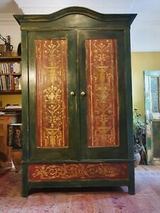 Stunning Vintage French painted Pine Knockdown Armoire /Wardrobe With Inlay