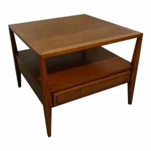 Mid Century Square End Table of Walnut with Cane Front Drawer Century Furniture