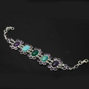 Copper Turquoise,Amethyst Solid 925 Sterling Silver Bracelet Jewelry 17.2 Gm AB-