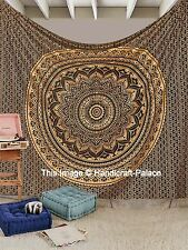 Black Gold Ombre Mandala Tapestry Wall Hanging Indian Throw Queen Size Bedspread