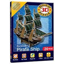 Mini 3-D Puzzle Blackbeard's Pirate Ship Age 8+ No Glue Takes 1 Hour Cheatwell