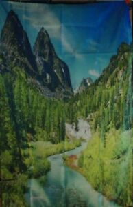 """AMBESONNE HANGING TAPESTRY HOUSE DECOR ALTA PINE FOREST BLUE GREEN 40""""x60"""" inch"""
