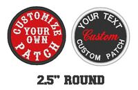 """Custom Embroidery 2.5"""" Round Patch Biker Embroidered Sew on Patches"""