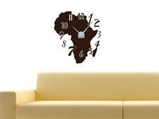 Wandtattoo Wandaufkleber Uhr Wanduhr für Wohnzimmer Zahlen Afrika Kontinent