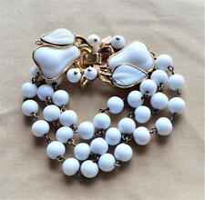 "Vintage Signed TRIFARI Pat Pend 172,172 Goldtone Milk Glass PEAR 7 3/8"" Bracelet"
