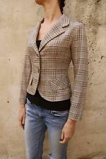 Denny Rose Made in Italy Single Breasted Blazer Jacket Checked Tartan M Stretch