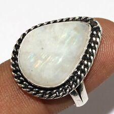 Plated Ring Us 8 Mm-34653 Rainbow Moonstone 925 Silver