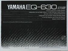 Yamaha EQ-630 Stereo Graphic Equalizer Operating Instruction EQ - USER MANUAL