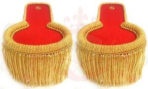 Red Blazer Gold Shoulder Epaulettes, Gold Fringe Marching Band Epaulete