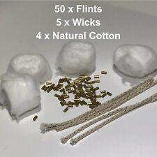 50 x Lighter Flints - 5 Lighter Wicks - 4 x Natural Cotton  Petrol Lighter