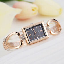 Ladies Fashion Rose Gold Black Dial Quartz Bracelet Link Band Wrist Watch.