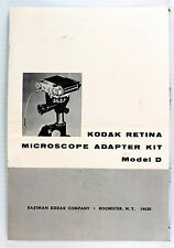 Original Kodak Retina Microscope Adapter Kit, Model D, Instructions - 8 pages