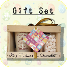 """Happy Easter Bunny & Eggs"" Chocolate Fondue + Mini Marshmallow Gift Set EC2"