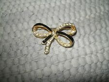 Signed J G Hook  Goldtone Bow Pin Black Lacquer and CZ detail