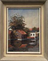 Häuser am Ufer Schweden signiert kleines Ölbild 25,5 x 20,5 cm  Smaland?