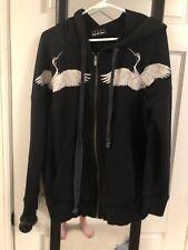 Sport The Kooples Black Hoodie Embroidered Crane Bird Sz M