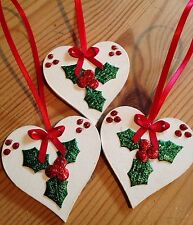 3 X Handmade Shabby Chic Christmas Decorations Holly Red Bows