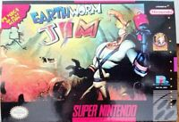 Earthworm Jim SNES Super Nintendo Game Authentic 1994 Cart Tested w Manual Box