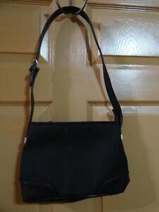 The Sak Black Woven with PVC Trim Shoulder Bag Purse EUC