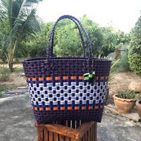 Tote Handbag Shoulder Large Shopping Handmade Woven Checkere Vintage Style Retro