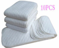 10 PCS Hot Reusable Baby Modern Cloth Diaper Nappy Liners insert 3 Layers Cotton