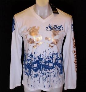 Bnwt Men's Smet Long Sleeve Foil Print T Shirt Christian Audigier Large Medium