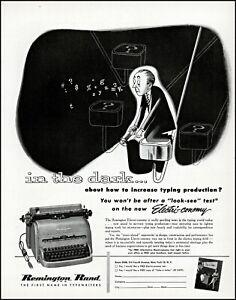 1952 Remington electric typewriter Man in the dark vintage art print ad adl80