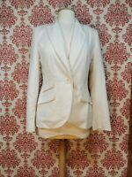 Ladies White Pinstripe Suit Jacket Blazer Size 12 Topshop