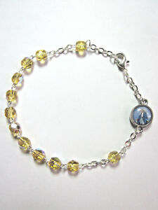 Rosary Bracelet TOPAZ CRYSTAL Beads Our Lady of Grace / Divine Mercy Charm Italy