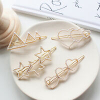 Women Fashion Pearl Hair Clip Snap Barrette Stick Hairpin Hair Accessories Gift