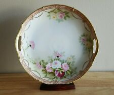 RARE NIPPON GOLD GILT HAND PAINTED ROSES PLATE w/ WALL MOUNT HARDWARE