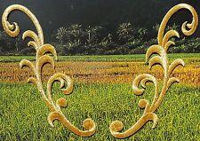 Lot de deux écussons thermocollants brodés Fleur dentelle en fil métallique doré