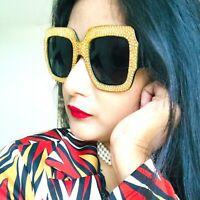 Womens Vintage Retro Fashion Stylish Large Oversized Square Black Sunglasses