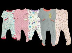 Baby Girl 3-6 Months 6-9 Months Carter's Zip Cotton Sleeper Pajama Clothes Lot