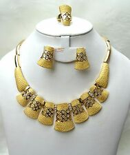 Bold Big Beautiful Gold Plated earring Necklace Party Set UK Delivery