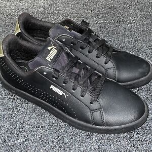 Puma Smash Perforated Black Leather Women's Sz 7 Skate Sneakers Tennis Shoes