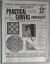 Antique WELDONS PRACTICAL CANVAS EMBROIDERY cross stitch rugs vintage patterns