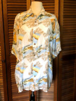 VINTAGE Hawaiian PURITAN Shirt WHITE Orange SUNSET Yellow Aloha RAYON Sz L 42/44