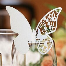 Butterfly Name Place Cards For Wine Glass. Laser Cut On Luxury Pearlescent Card