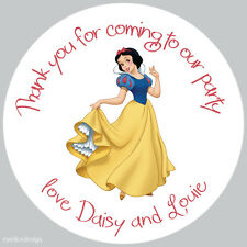 35 x Personalised Snow White 37mm Birthday Stickers Party Thank You Seals- 088