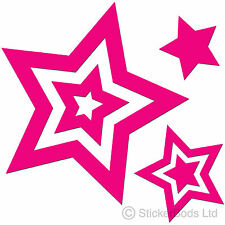 36 HOT PINK STAR STICKERS Car / Wall Decals Graphics Bedroom Window t6