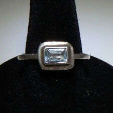 Modern Geometric Sterling Silver Topaz Solitaire Stacker Ring Size 7.5 RS224